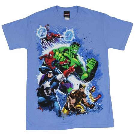 Magneto Marvel Comics (Marvel Comics Mens T-Shirt -  Attacking Hulk, Magneto, Spidey, Wolvy, and Cap (X-Large) )