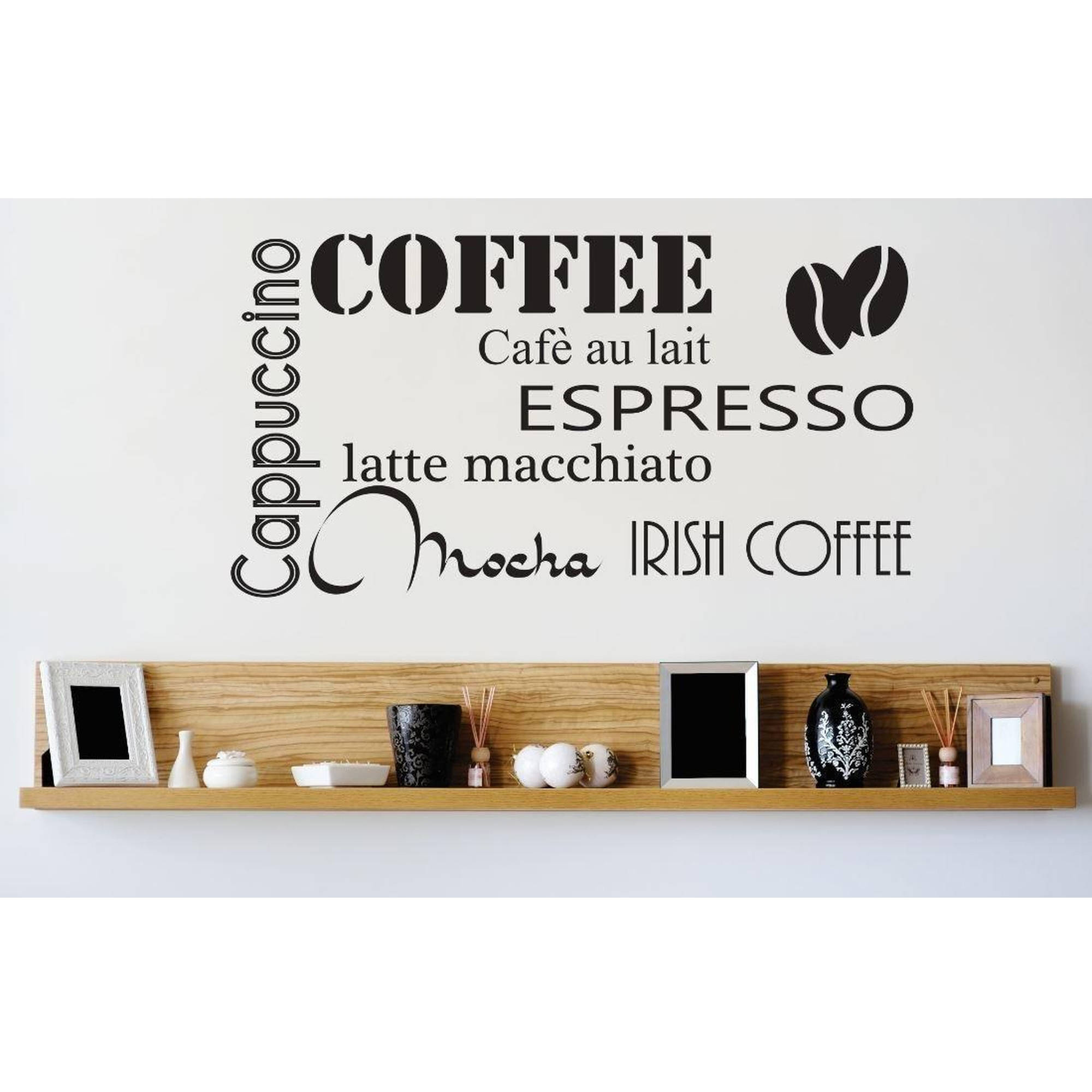 "Coffee Cappuccino Espresso Latte Macchiato Irish Coffee Mocha Café Au Lait Kitchen Vinyl Wall Decal, 9"" x 20"", Black"