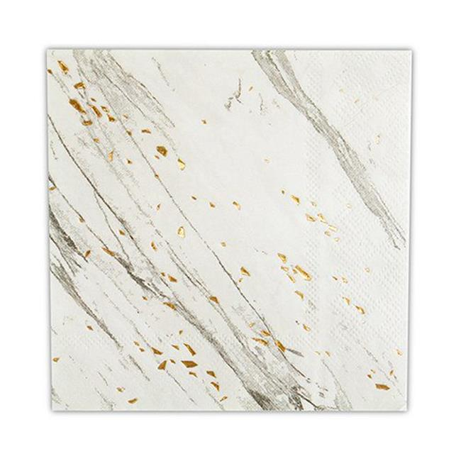 "Harlow & Grey, Blanc White and Gold Foil Marble Cocktail Paper Napkins, 5"" Folded, 20 Count"