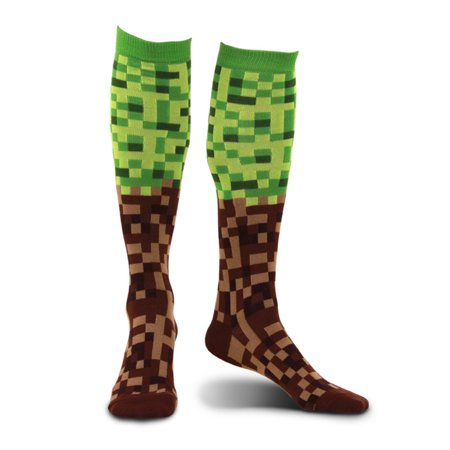 Pixel 8-Bit Adult Costume Green & Brown Brick Knee High Socks