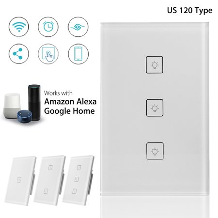 3/2/1 Gang US Smart Wifi Wall Light Switch, Touch Panel Switch APP Control for Alexa smart switch for Google -