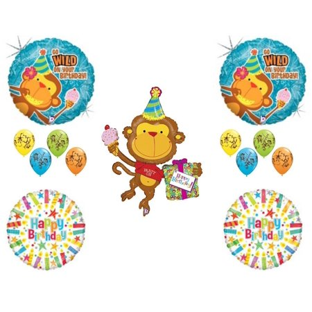 Monkey Go Wild Happy Birthday PARTY Balloons Decorations Supplies Candles (Monkey Party Supplies)