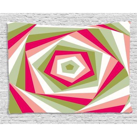 Geometric Tapestry, Abstract Hexagon Vortex with Vivid Colors Intertwined Shapes Illustration, Wall Hanging for Bedroom Living Room Dorm Decor, 60W X 40L Inches, Green Pink Coral, by Ambesonne