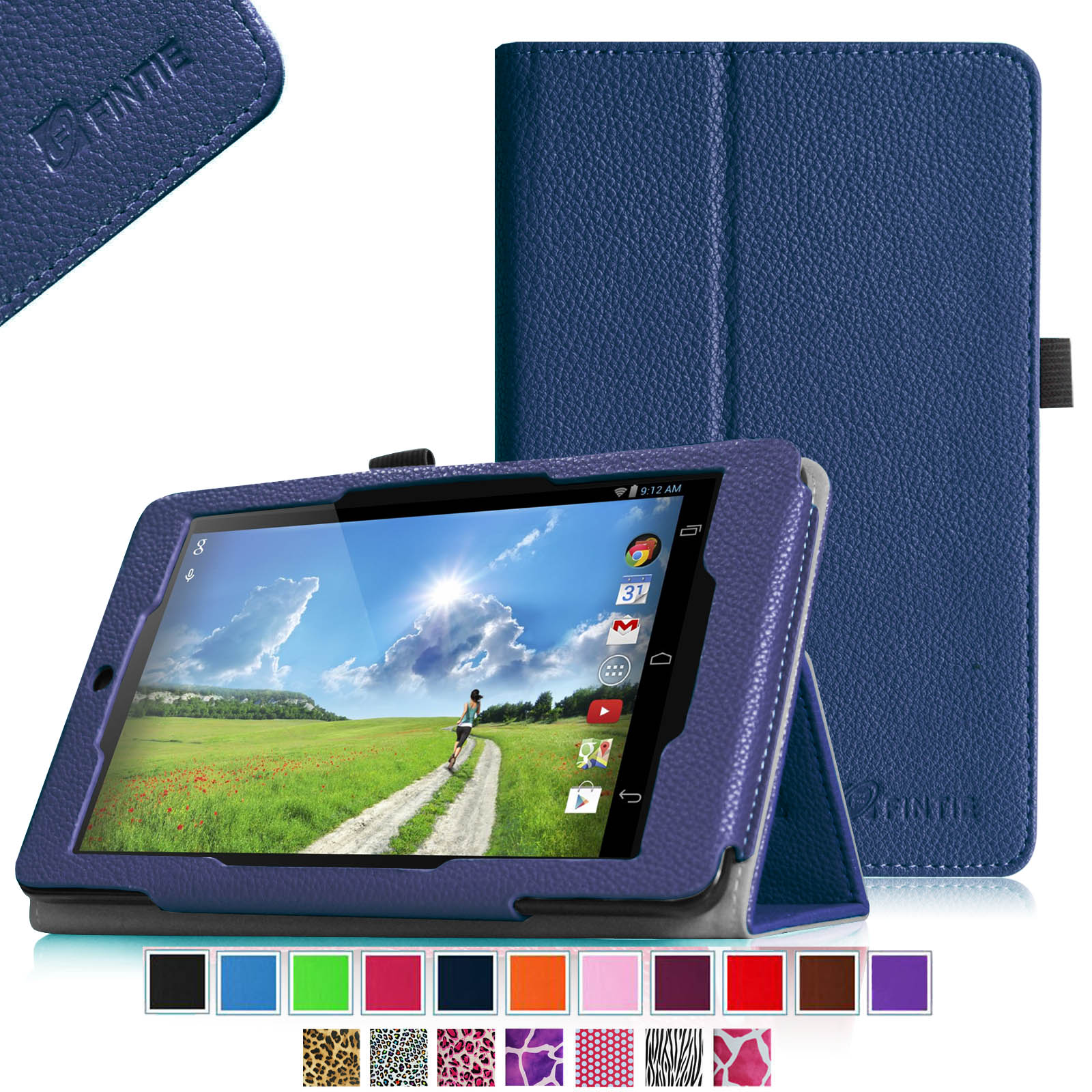 Fintie Acer Iconia One 7 B1-730HD Tablet Folio Case - Premium Vegan Leather Cover with Stylus Holder, Navy