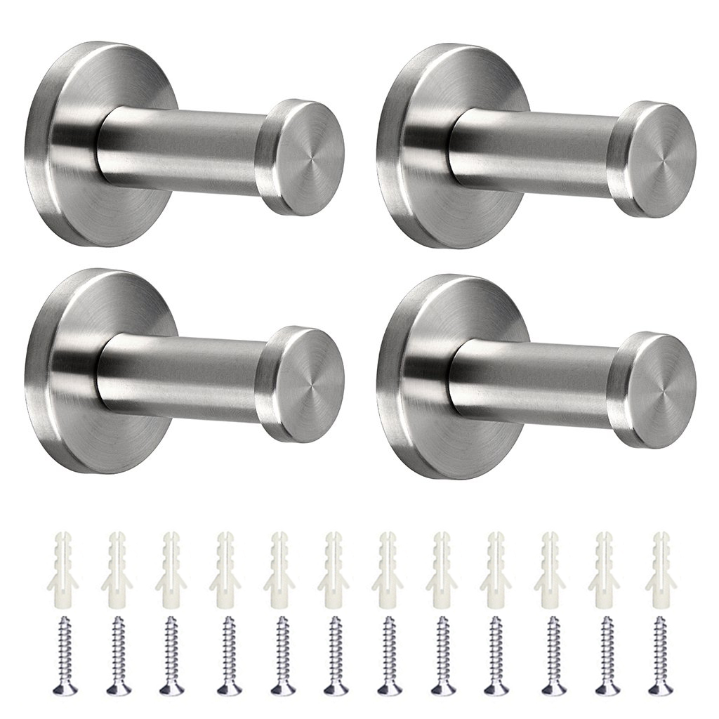 4 Pcs Brushed Stainless Steel Towel Hook, TSV Wall Mount Robe Coat Hangers Holder Heavy Duty Wall Mount Hooks for Bedroom, Bathroom, Living Room, Fitting Room