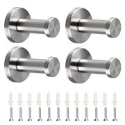 4 Pcs Brushed Stainless Steel Towel Hook Tsv Wall Mount Robe Coat Hangers Holder Heavy