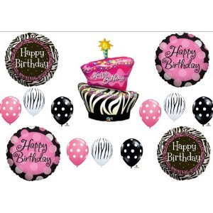 Zebra Stripe Cake Polka Dot Birthday Party balloons Decorations Supplies