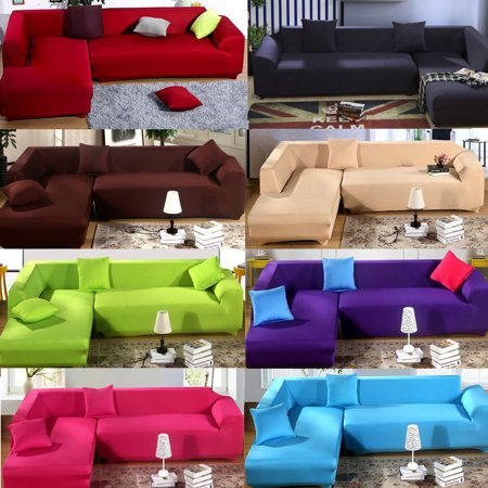 Stretch Sofa Slipcover L Shape Elastic Cover Couch Pure Color Anti Wrinkle Protector