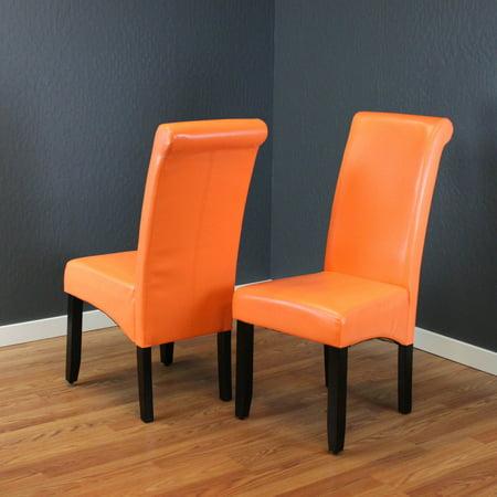 Milan Faux Leather Sunrise Orange Dining Chairs Set Of 2