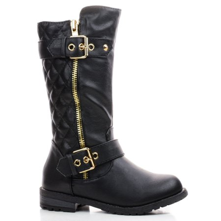 New Kids Girls Dual Buckle/Zipper Quilted Mid Calf Motorcycle Riding Boots (Black-May14K-9 Toddler) ()