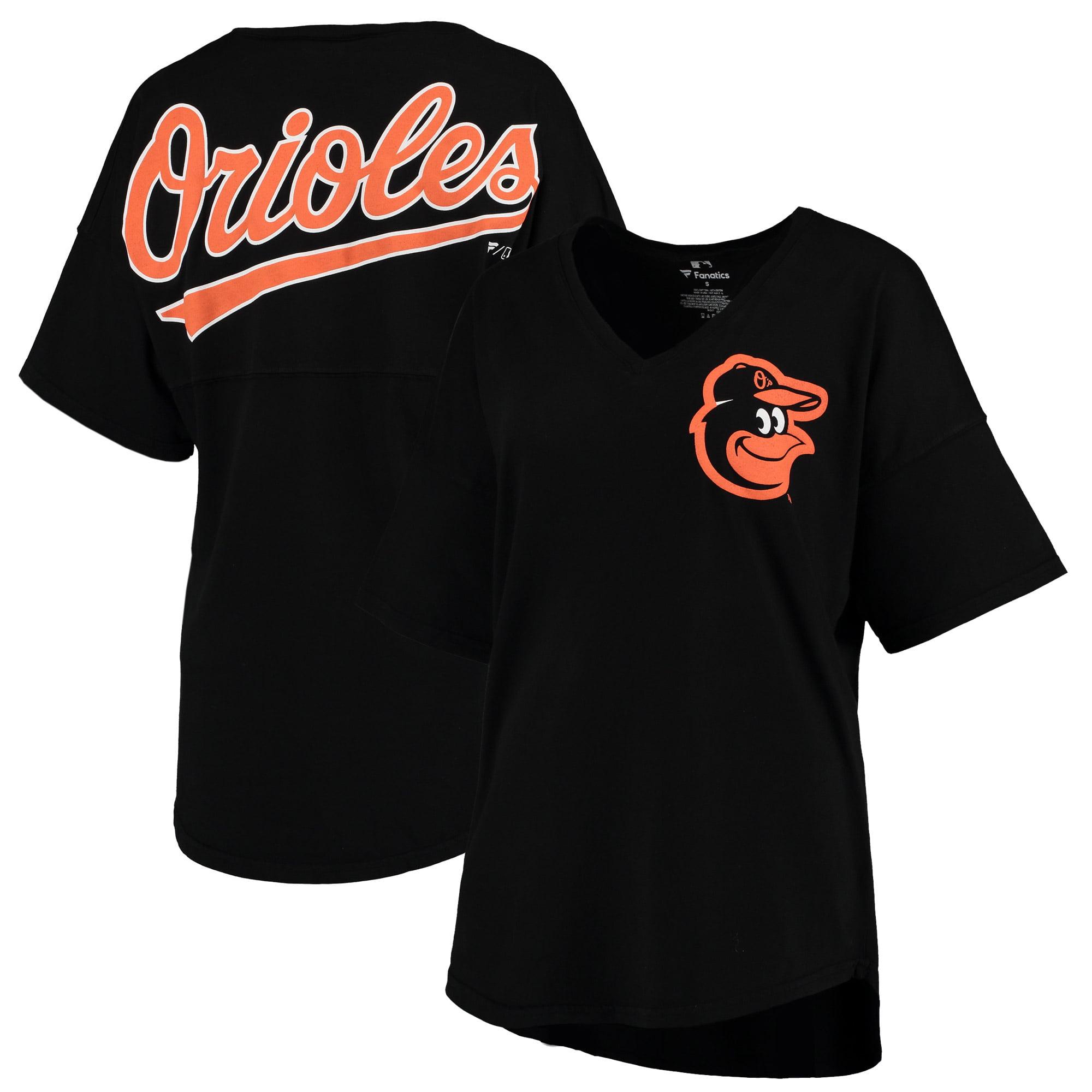 Baltimore Orioles Women's Oversized Spirit Jersey V-Neck T-Shirt - Black