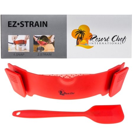 Kitchen Red Clip-on Strainer. BEST for Straining Meat Grease, Pasta, Eggs, Rice, Fruits & Vegetables - BPA Free FDA Approved - Includes Bonus Matching Silicone Spatula - Makes a Great
