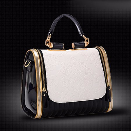 Fashion Women PU Leather Handbag Flower Messenger Shoulder Bag Satchel (Flower Leather Handbag)