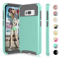 Samsung Galaxy S8 Case,Galaxy S8 Phone Cover, Njjex Gray TPU/Turquoise Hard Hybrid Cover Case For Samsung Galaxy S8 5.8 Inch (2-Piece Shockproof Dual Layer Style)