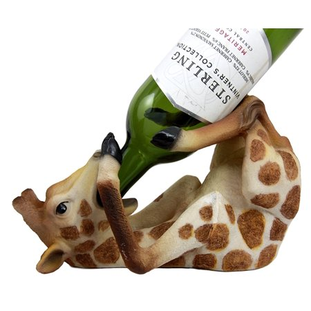 Collectibles Safari Drunken Long Necked Giraffe Wine Bottle Holder Caddy Figurine, This beautiful sculpture stands at 5.25