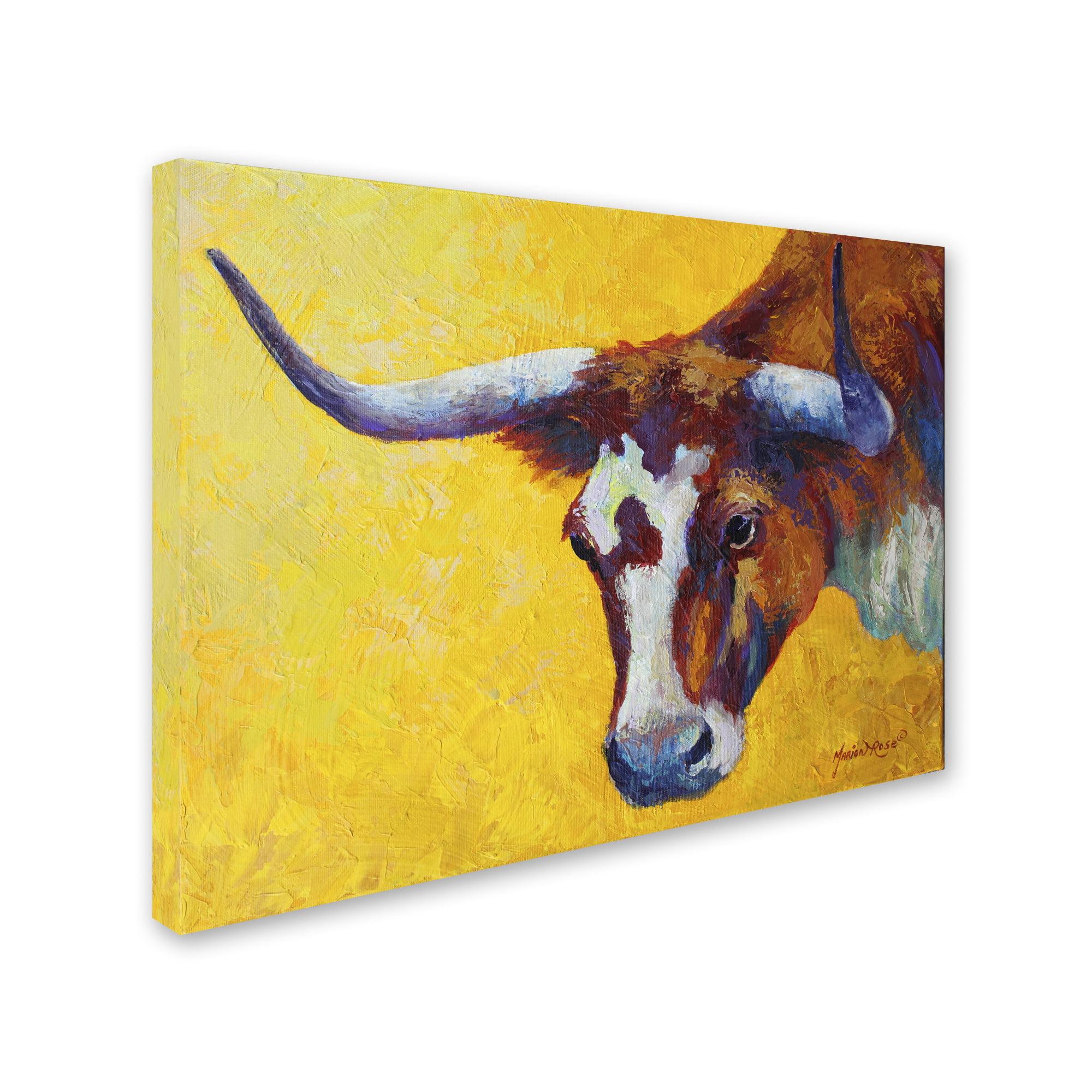 Trademark Fine Art \'Longhorn Cow Study\' Canvas Art by Marion Rose ...