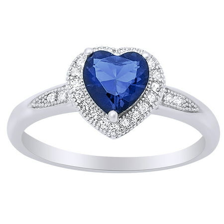 Heart Shape Simulated Blue Sapphire & Cubic Zirconia Halo Promise Ring in 14k White Gold Over Sterling Silver Size Ring - 4