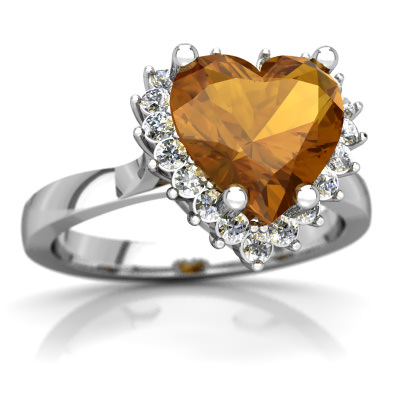 Citrine Halo Heart Ring in 14K White Gold by