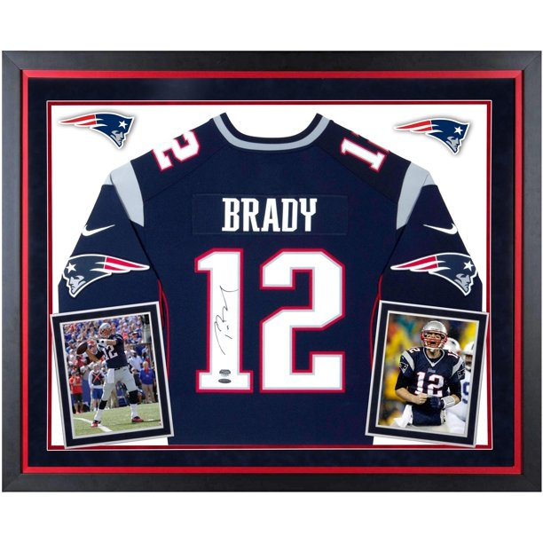Tom Brady New England Patriots Deluxe Framed Autographed Navy Limited Jersey - Fanatics Authentic Certified