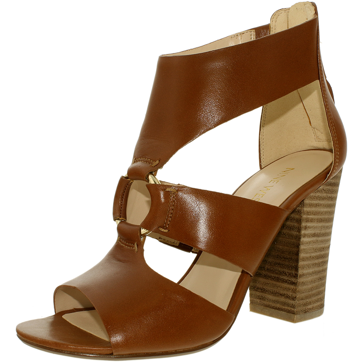 Nine West Women's Roamah Leather Cognac Ankle-High Pump - 8.5M