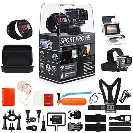 Super Snap Remote (SportPro 4K UHD WiFi Touch Screen Action Camera with Wireless Wrist Remote and Super Premium Accessory Kit - Touch Screen and Wireless Wrist Remote - 4K@30FPS Ultra HD - Extra Battery - Chest Strap)
