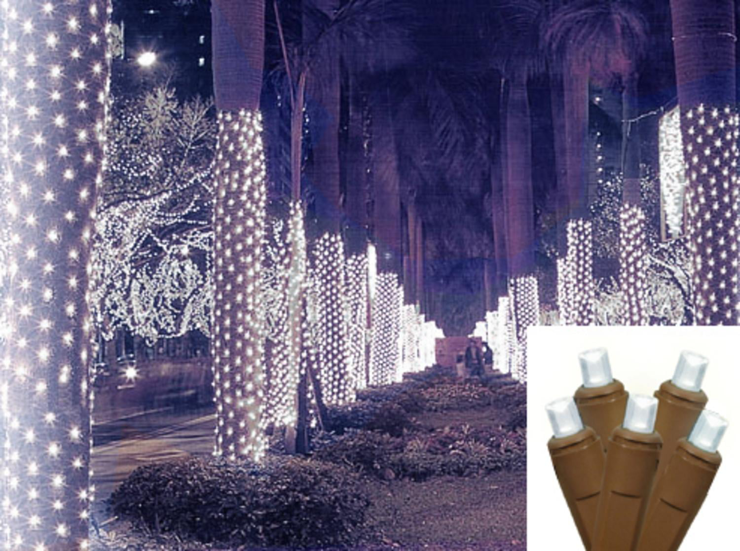 2 x 8 cool white led net style tree trunk wrap christmas lights brown wire walmartcom - Led Net Christmas Lights