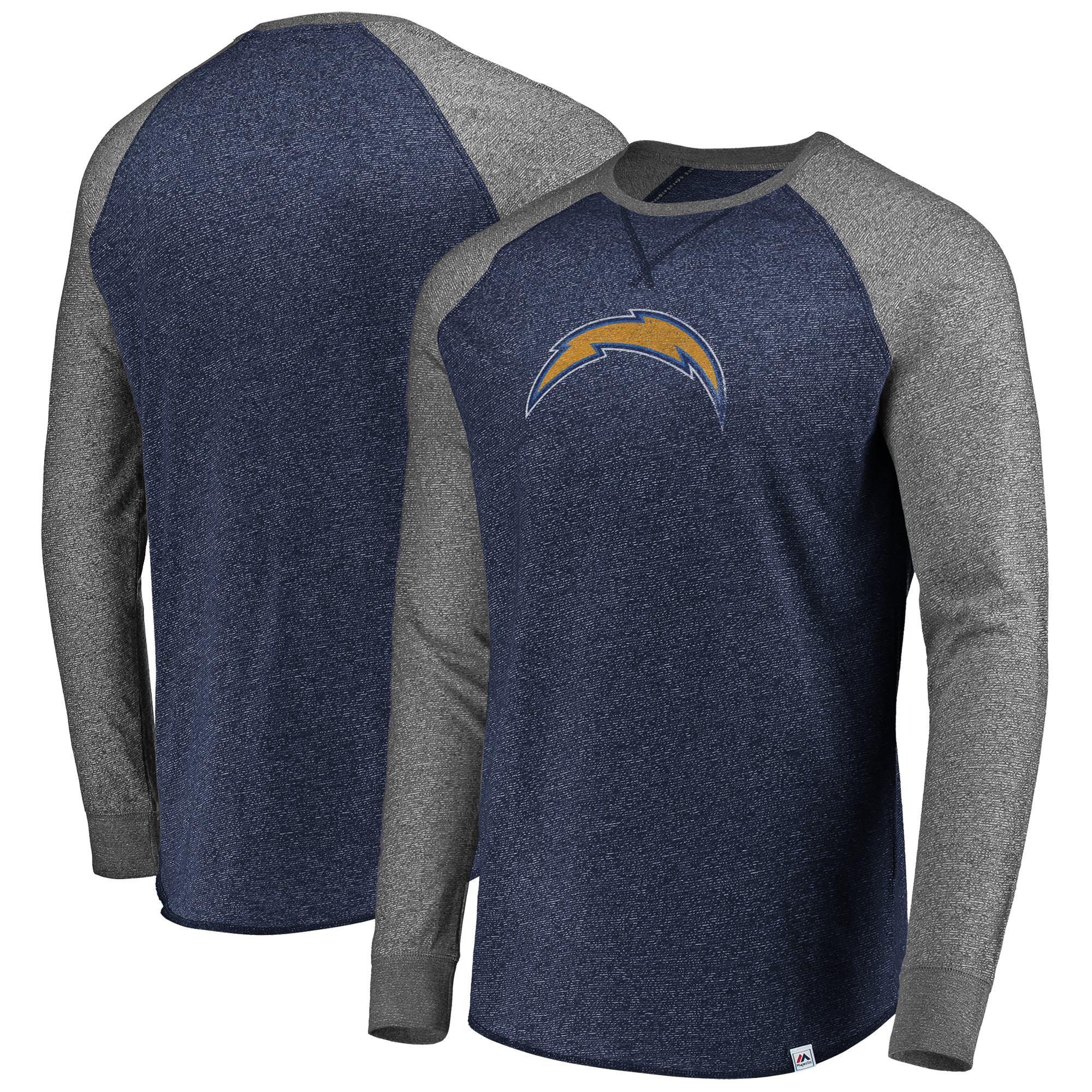 Los Angeles Chargers Majestic Static Marled Raglan Long Sleeve T-Shirt - Navy