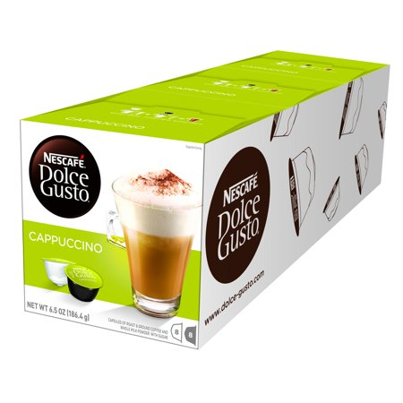 Nescafé Dolce Gusto Cappuccino Latte Coffee Pods, Espresso Roast, 24 Count (3 Packs of 8 Coffee + Latte Pods)