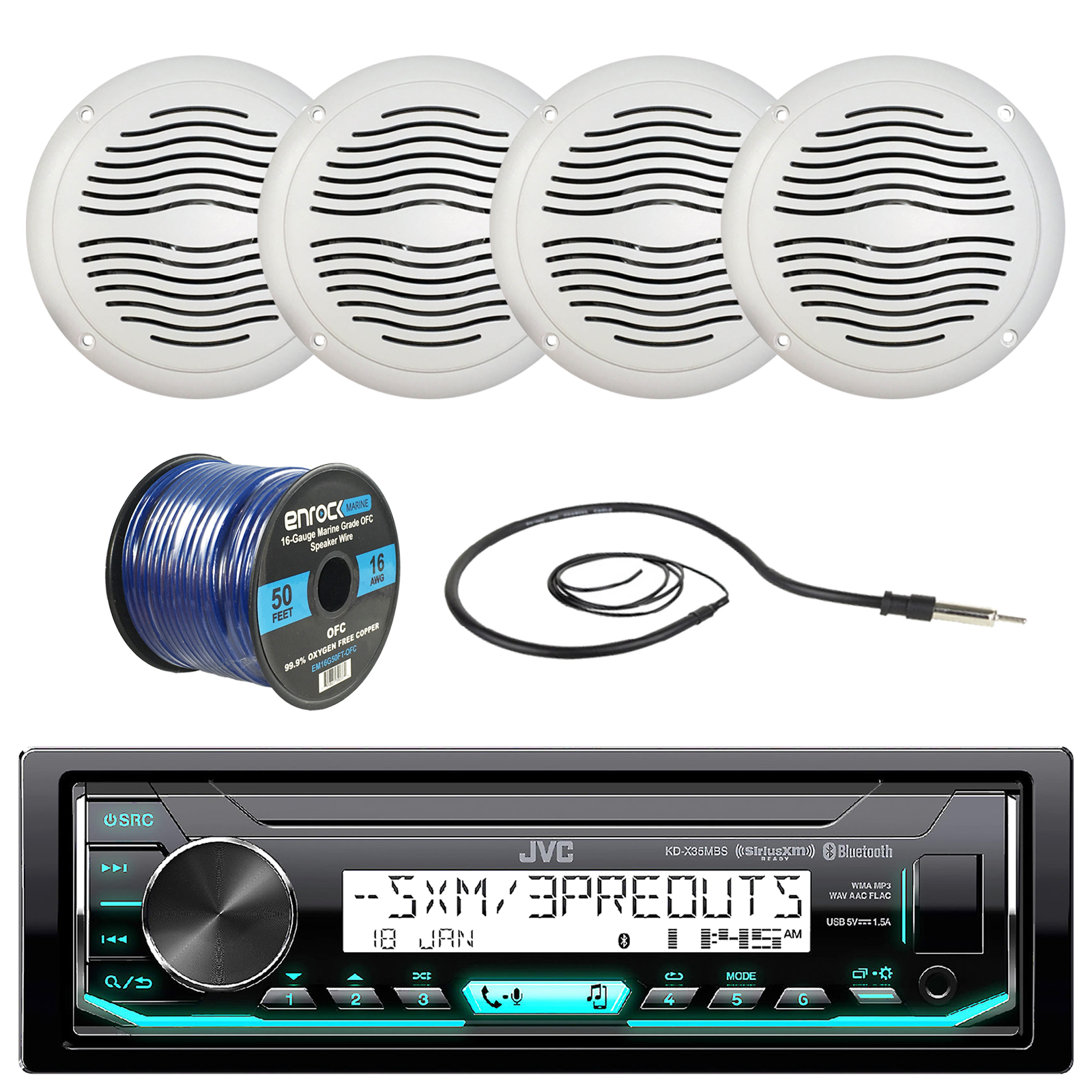 "JVC KD-X35MBS Marine Boat Yacht Radio Stereo MP3 Player Receiver Bundle Combo With 4x Magnadyne WR40W 5"" Inch White Waterproof Outdoor Speakers + Enrock 22"" Radio Antenna + 50 Foot 16g Speaker Wire"