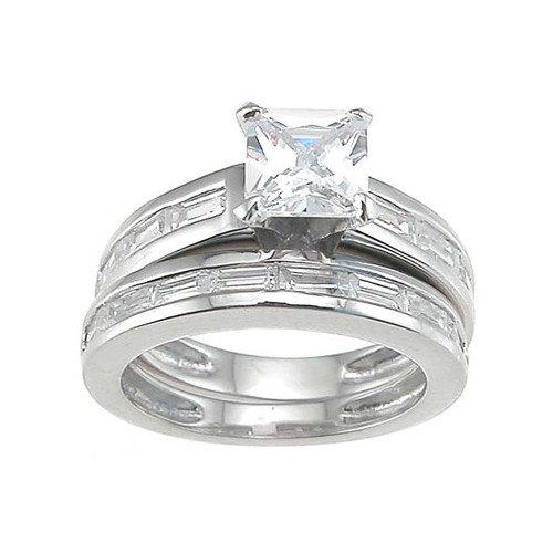 Plutus Partners .925 Sterling Silver Princess Cut Cubic Zirconia Engagement Ring Set
