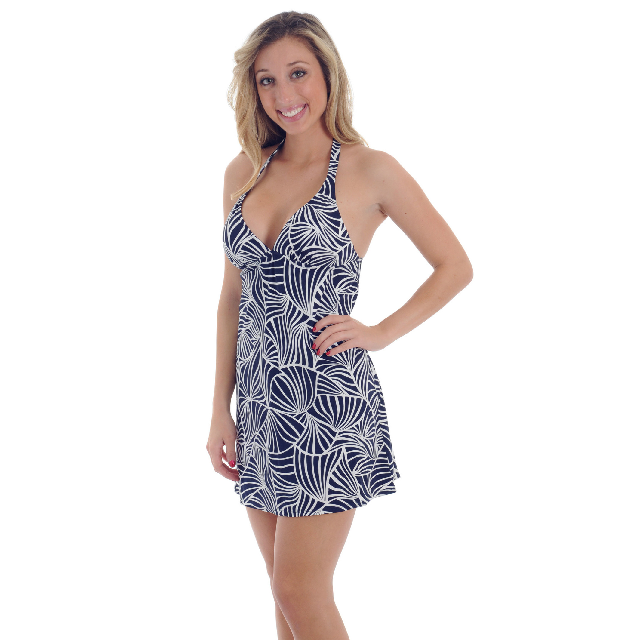 Ann Cole Womens Halter Cover Up Swim Dress Signature Collection Navy Print