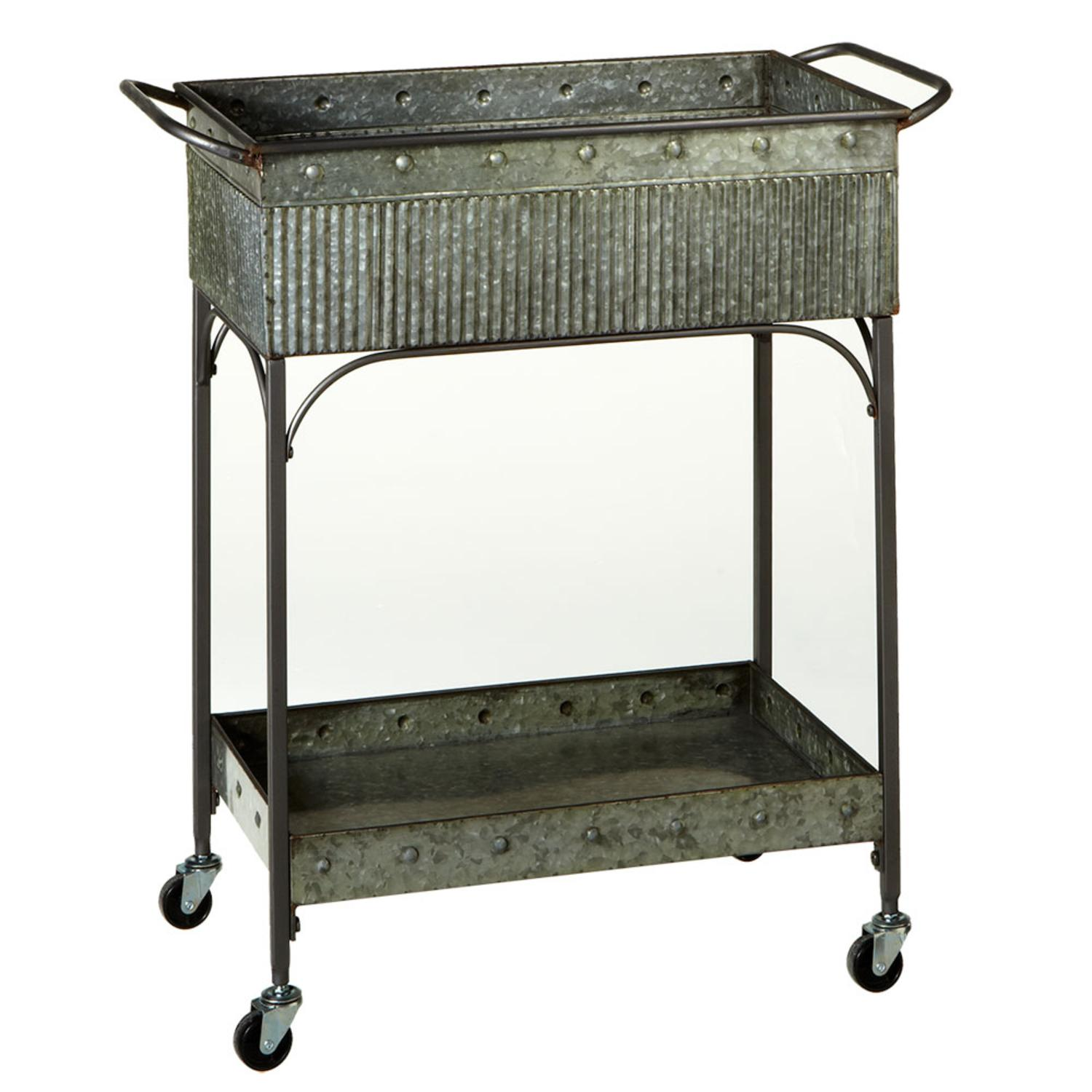 """32"""" Gray Resin Two Tier Indoor and Outdoor Serving Cart with Wheels by Diva At Home"""