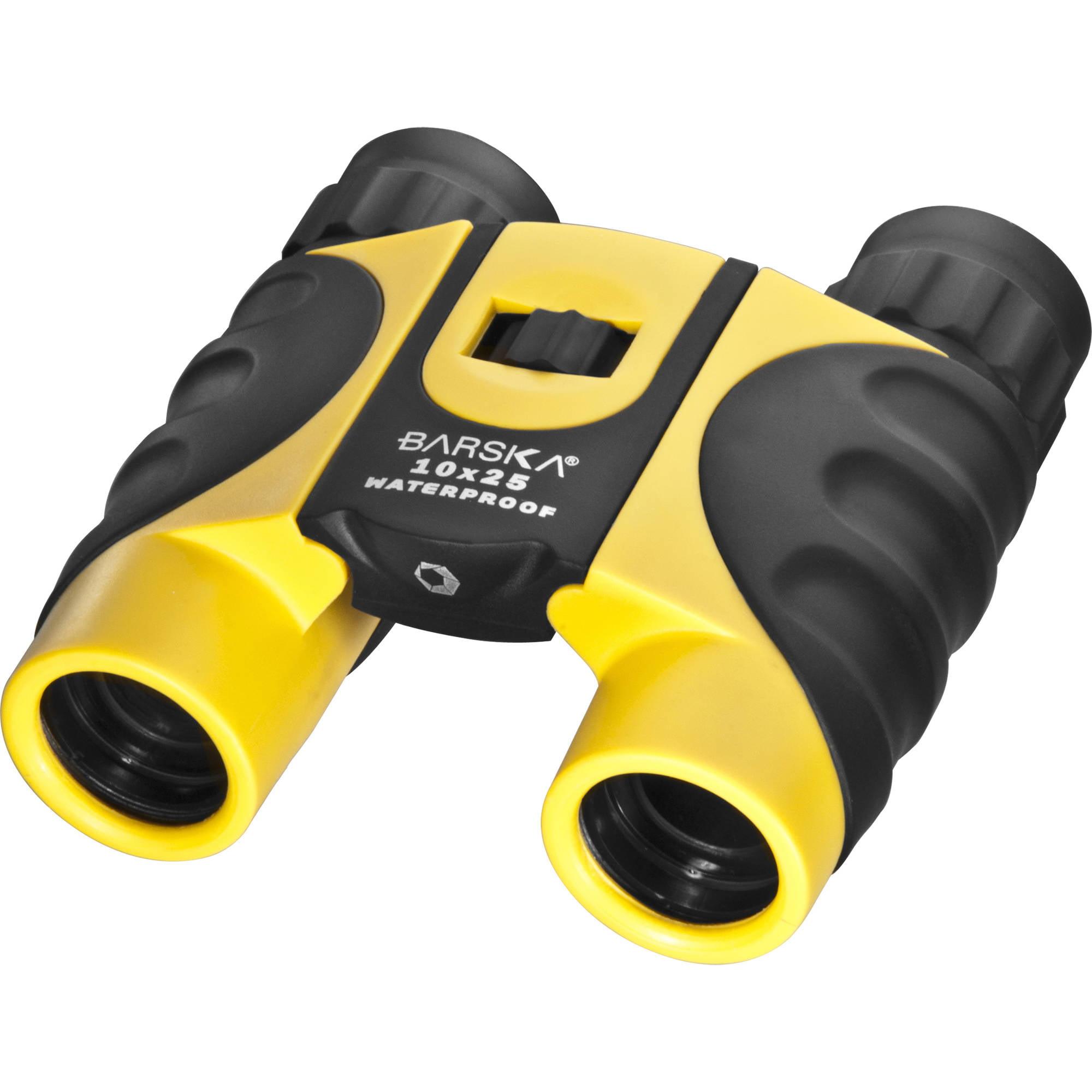 Barska CO10696 10X25 Waterproof BK-7 Prism Compact Blue Lens Yellow Binoculars by Barska