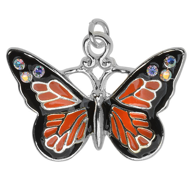 Silver Plated and Enameled Charm, Monarch W/ SWAROVSKI ELEMENTS 17.7x24.5x3.3mm, 1 Piece, Orange