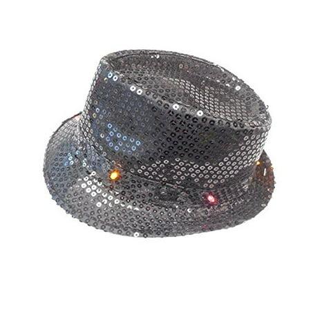 Halloween Wholesalers Light Up LED Hat with Sequin (Black)](Black Light Paint Halloween)