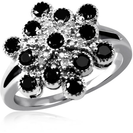 1.00 CTW Round cut Black & White Diamond Micro Pave Sterling Silver Ring