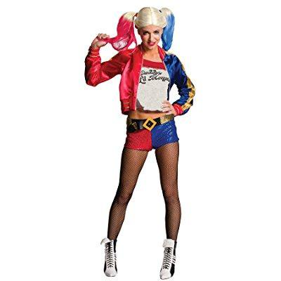 uhc women's suicide squad harley quinn outfit fancy dress halloween costume, l (12-14)