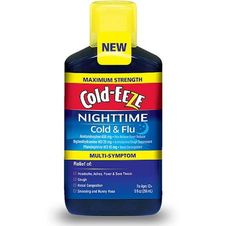 Cold Eeze Maximum Strength Nighttime Cold   Flu Multi Symptom Relief Liquid  Cherry 9 Oz  Pack Of 3