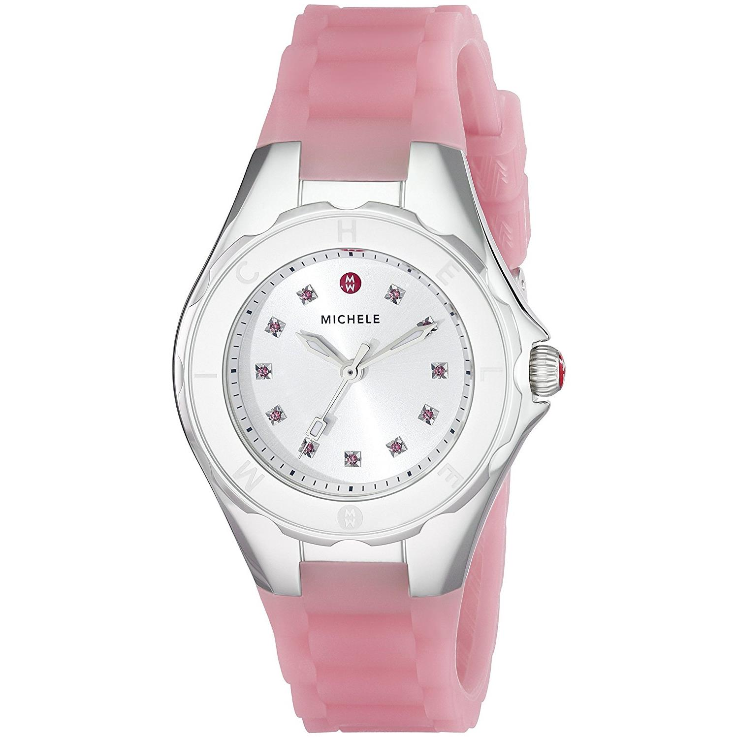 Michele Watches Women's 35mm Pink Silicone Band Steel Cas...