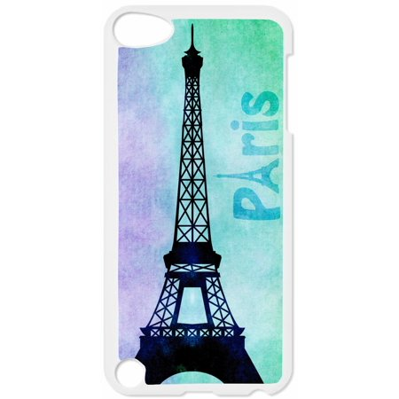 Watercolor Grunge Paris Design Hard White Plastic Case Compatible with the Apple iPod Touch 4th Generation - iTouch 4 Universal