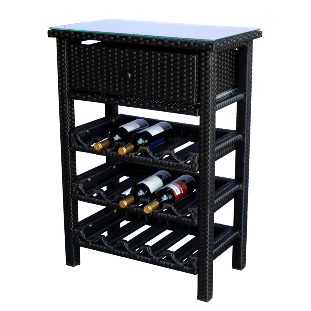 Wicker 15 Wine Bottle Rack Bar Console Table Stand Storag...