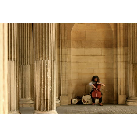 Laminated Poster Music Paris Cello Street Artist Classic Poster Print 11 x 17