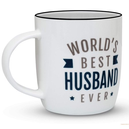 Gifffted Husband Mug, Birthday and Anniversary Gifts For Worlds Best Husband Ever, Funny Fathers Day Gifts For Men, 13 Ounce Coffee Mug, Ceramic