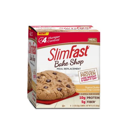 SlimFast Bake Shop Meal Replacement, Peanut Butter Chocolate Chip Cookie, 2.4oz, Pack of 4 - Peanut Butter Chocolate Halloween Cookies