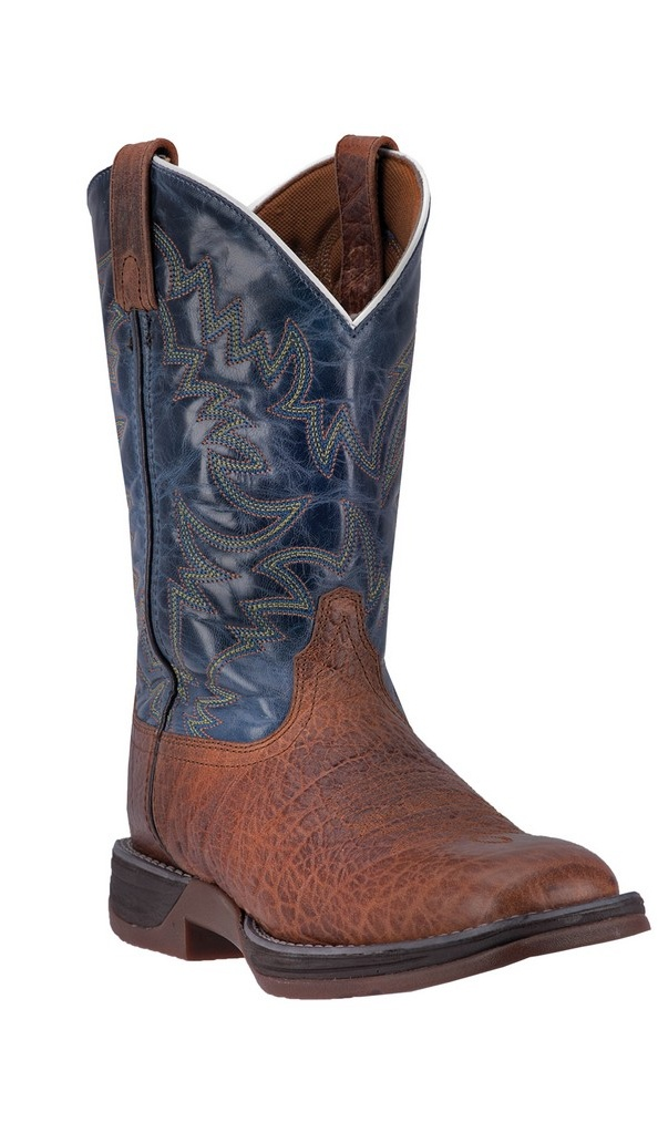 "Laredo Western Boots Mens Great Bend 11"" Broad Square Rust Navy 7459 by Laredo"
