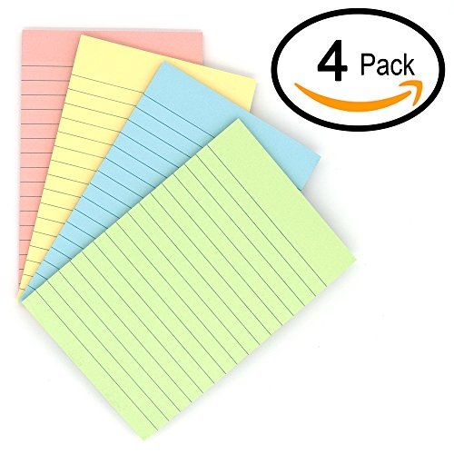 """6-Pack Sticky Notes Colorful Lined Post Memos 4/"""" x 6/"""" Removable Self Sticky Not"""