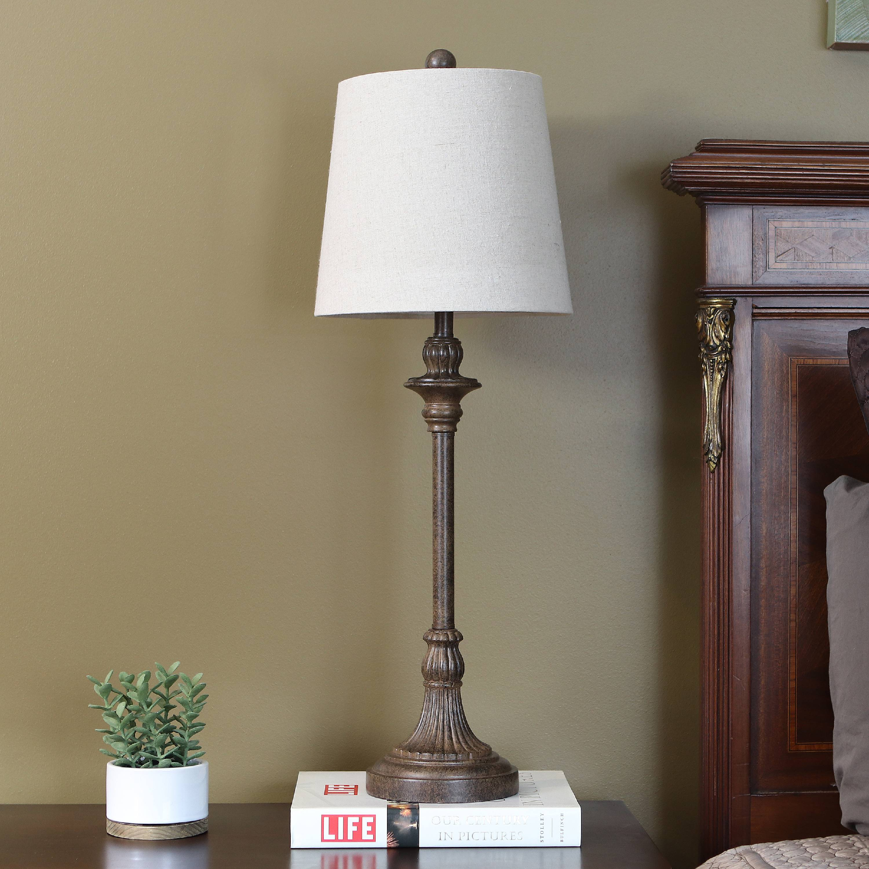 Leroy Brownstone Whitewashed Buffet Lamp
