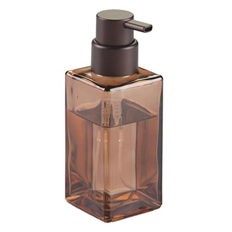 InterDesign Casilla Glass Foaming Modern Soap Dispenser Pump for Kitchen and Bathroom Vanities, Sand/Bronze