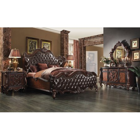 1PerfectChoice Versailles 4pc Dark Brown Pu Cherry Oak King Bedroom Set