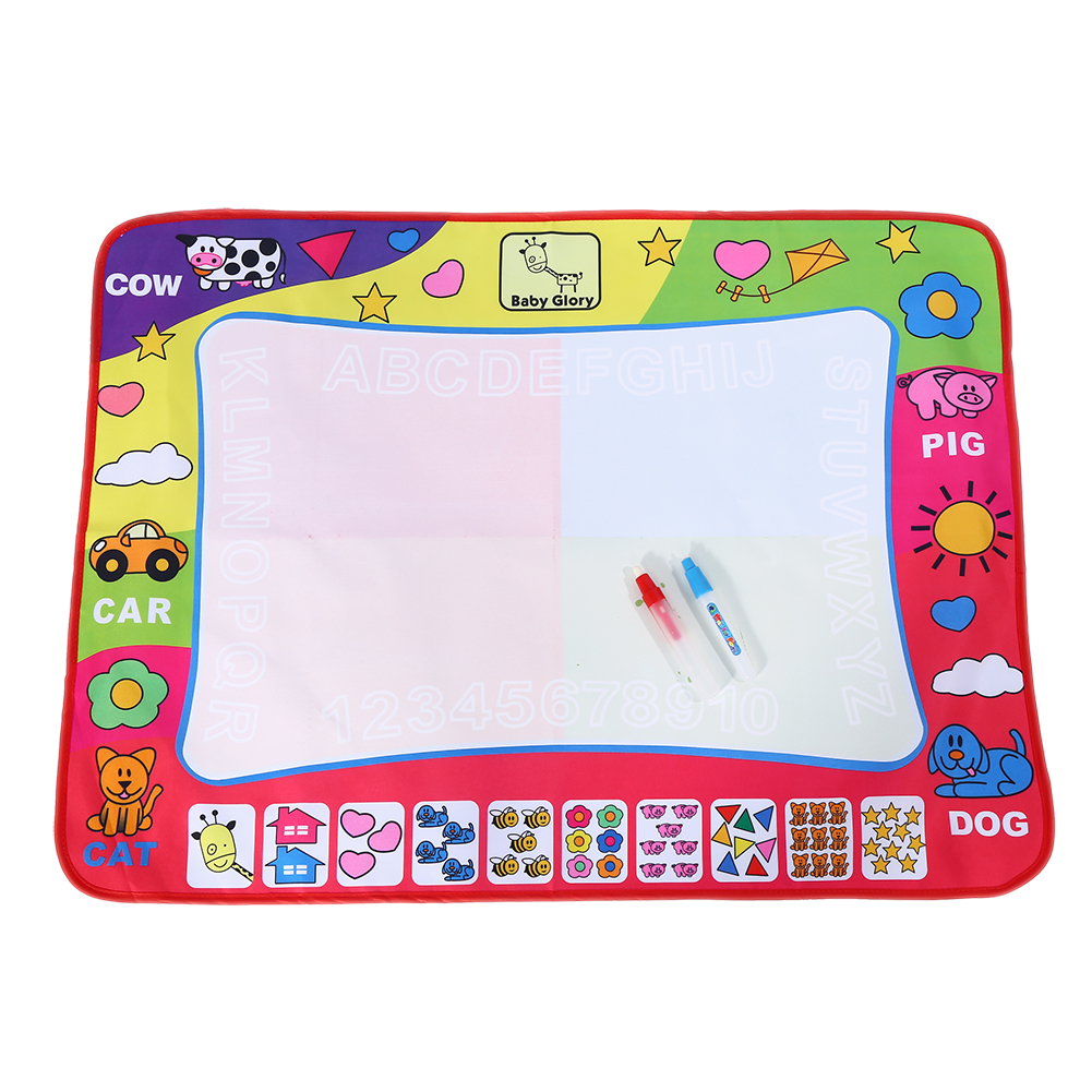 Yosoo 4 Color Water Painting Draw Writing Mat Kid Aquadoodle Developmental Doodle Board Toy With Magic Pen(31.5 X 23.6inch)